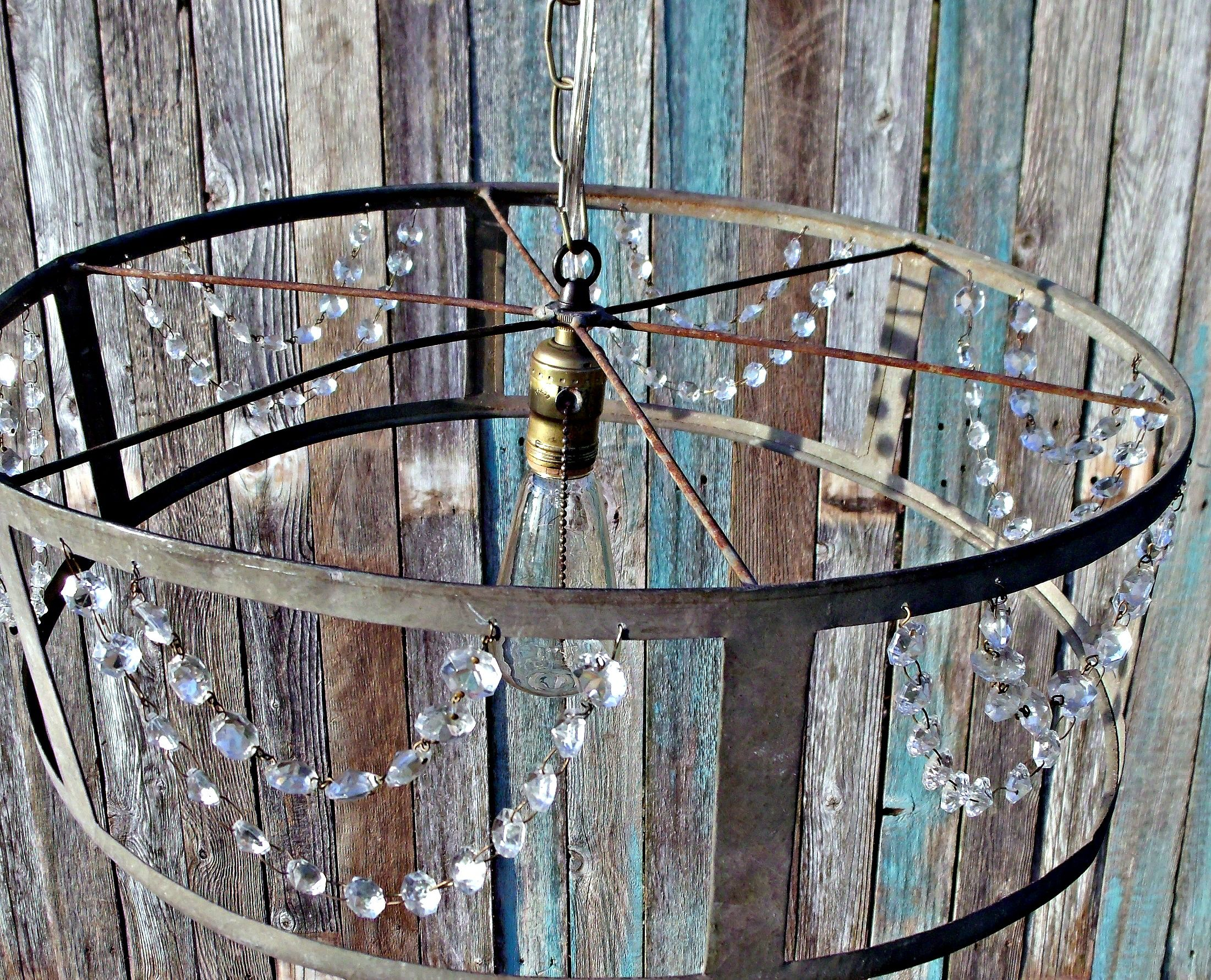 Metal Quot Drum Quot Repurposed Lighting Fixture With Antique