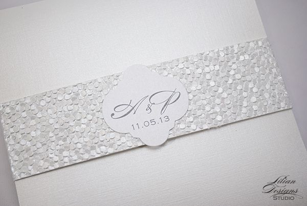 Textured Paper For Wedding Invitations: Custom Pocket Invitation With Pebble-textured Paper Band