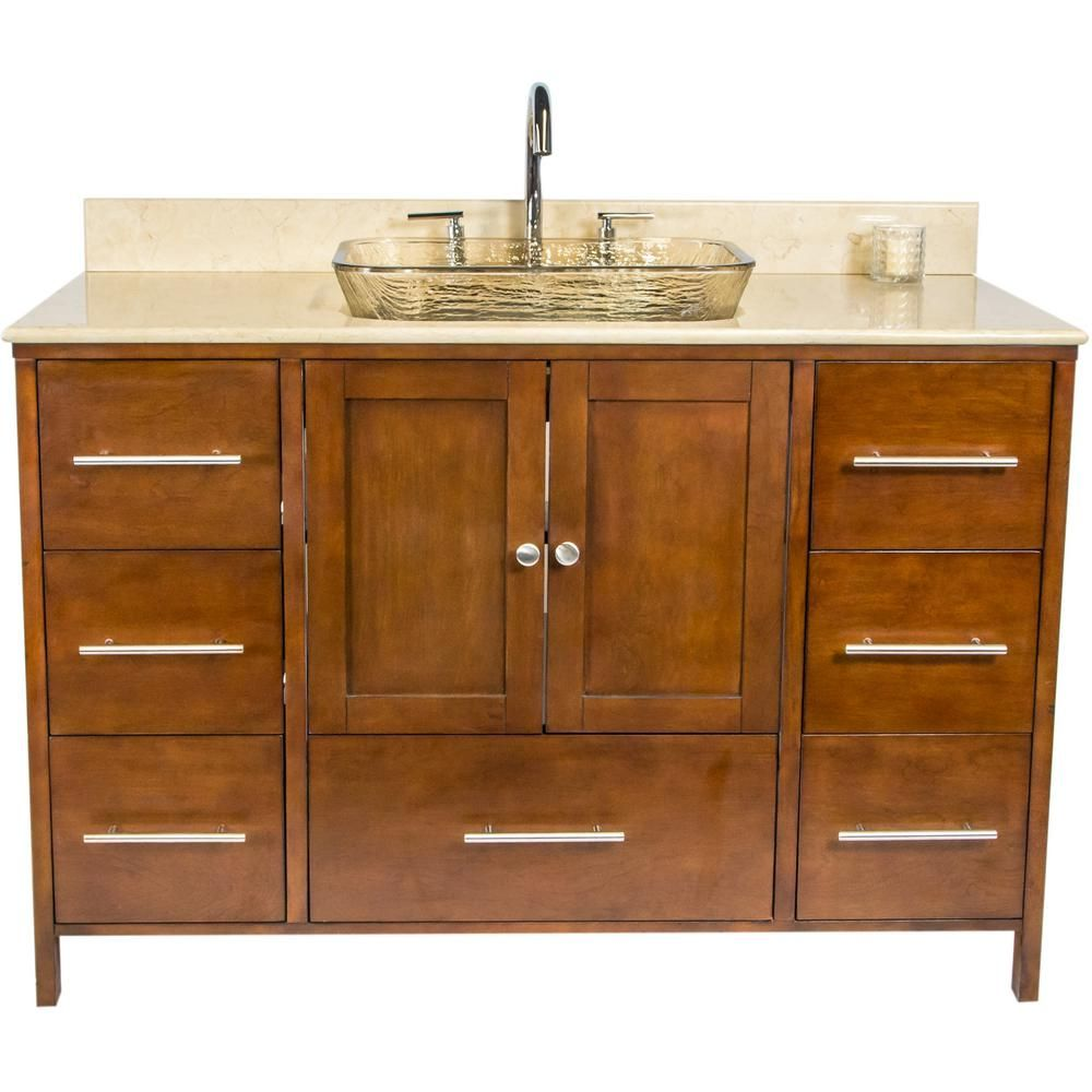 Jsg Oceana Manhattan 48 75 In W X 22 25 In D Bath Vanity In Brown With Granite Vanity Top In Beige With Fawn Basin Man Brn 403 120 Granite Vanity Tops Single Sink Vanity Beige Marble