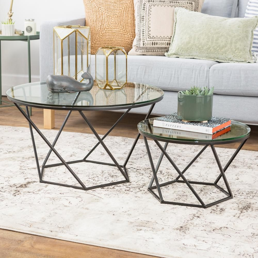 Geometric Glass Nesting Coffee Tables In Black Nesting Coffee Tables Modern Coffee Table Sets Coffee Table #walker #furniture #living #room #sets