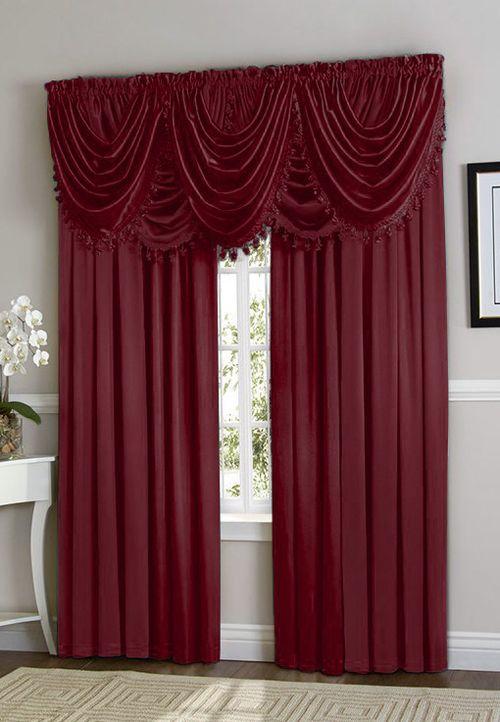 Hyatt Curtain Set Burgundy Red Rod Pocket Curtain Panels Rod