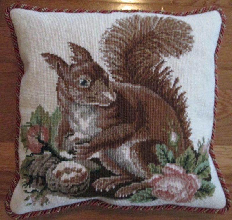 "Elizabeth Bradley's ""Squirrel"" -- finished needlepoint pillow"