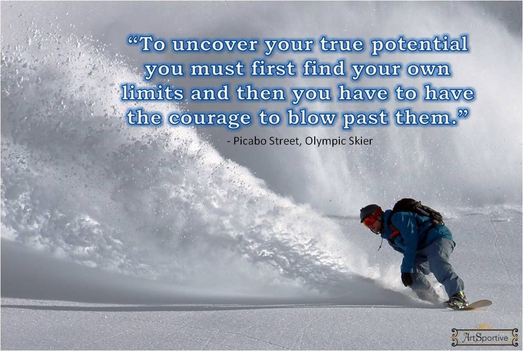 Snowboarding, ski quote, sports inspiration and motivation