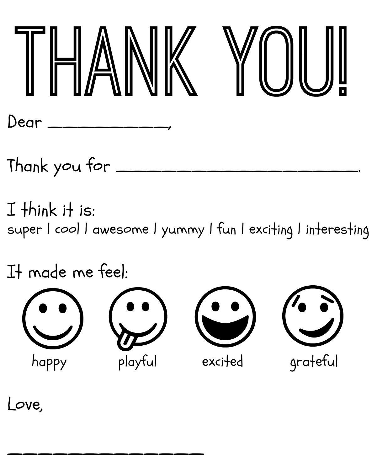 free printable kids thank you cards to color thank you card