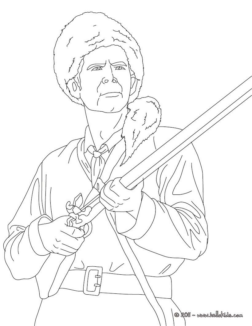 Icolor The Old West Davy Crockett Coloring Pages People