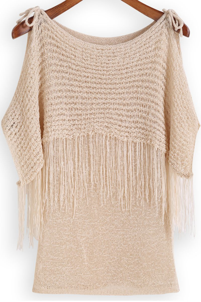 Apricot Off the Shoulder Tassel Knit Sweater 15.67