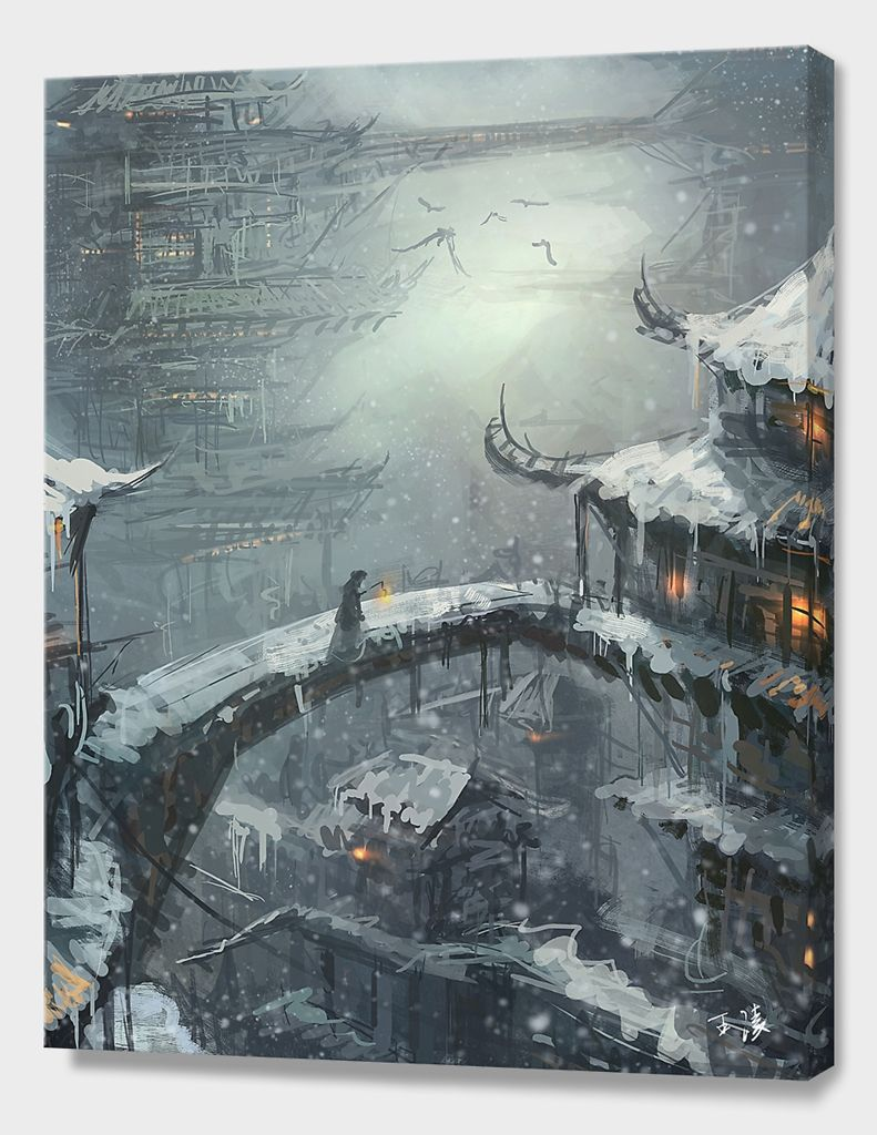Winter Canvas Print By Wlop Numbered Edition From 59 Curioos In 2021 Fantasy Landscape Fantasy City Fantasy Art