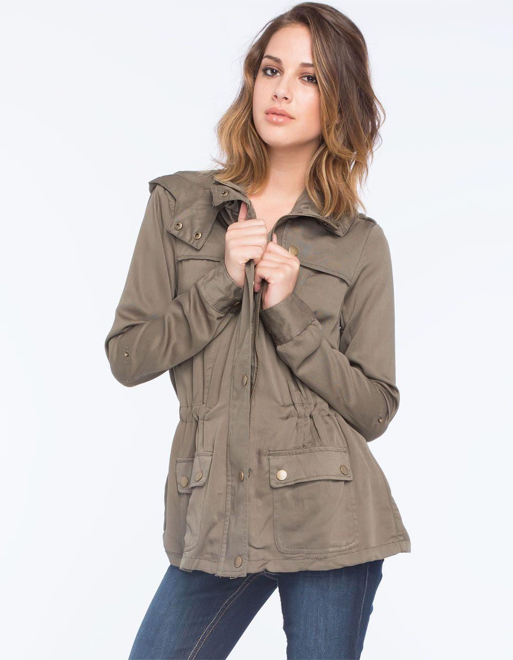 Ashley Button Flap Womens Anorak Jacket Jackets Anorak Jacket Olive Green Anorak Jacket Anorak [ 1286 x 1000 Pixel ]