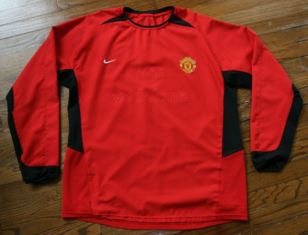 Manchester United Vodafone Soccer Football long-sleeve Nike Jersey shirt-XL 2XL