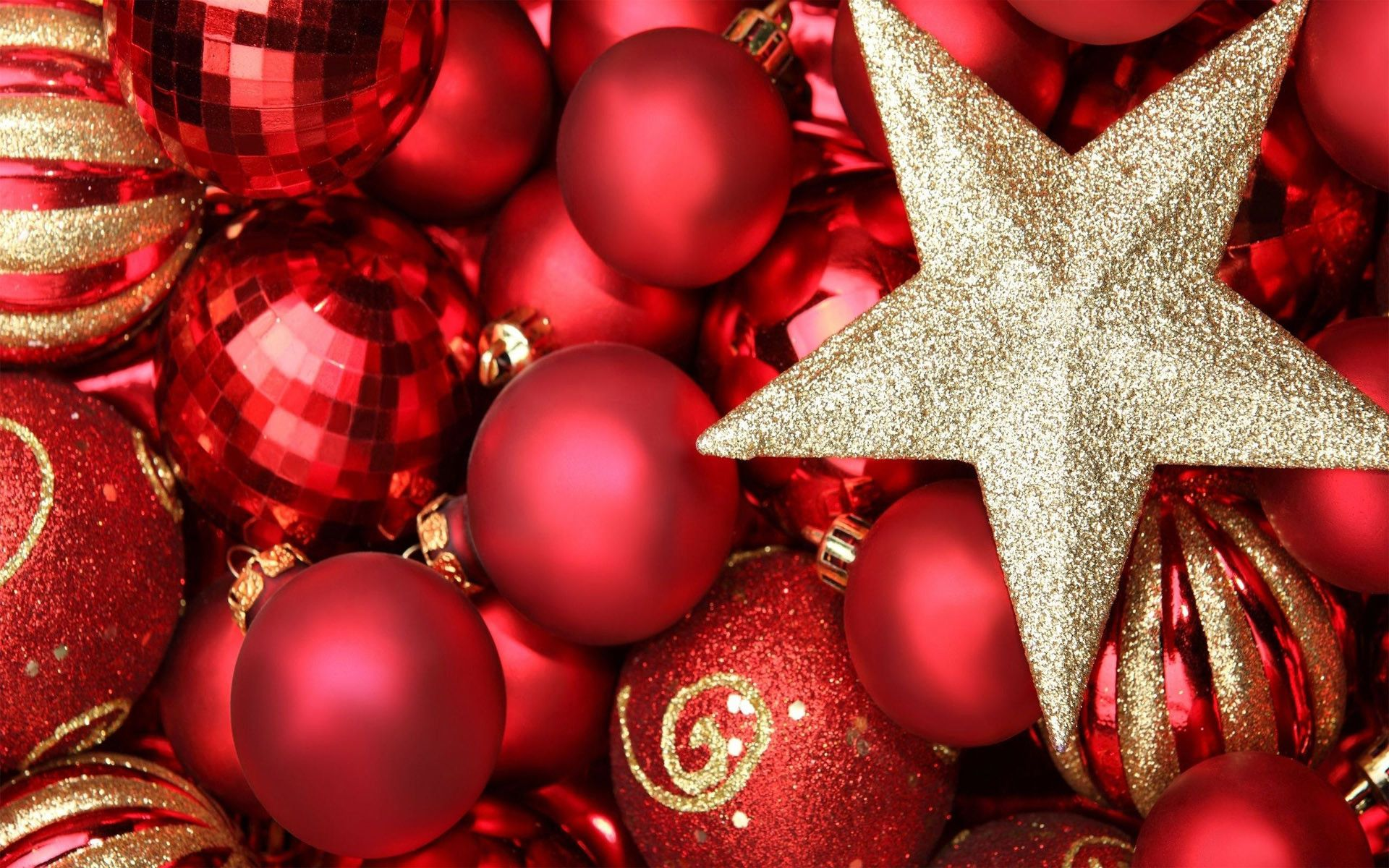 1920x1200 Red & gold Christmas ornaments HD wallpaper