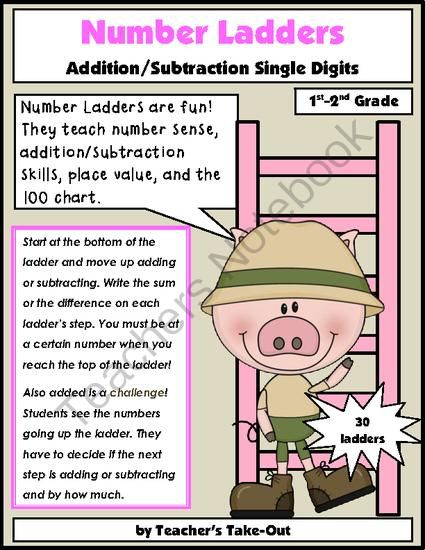 Number Ladders-Add/Subtract Single Digits from Teachers Take Out on TeachersNotebook.com -  (41 pages)  - Number Ladders Single Digit Addition/Subtraction $