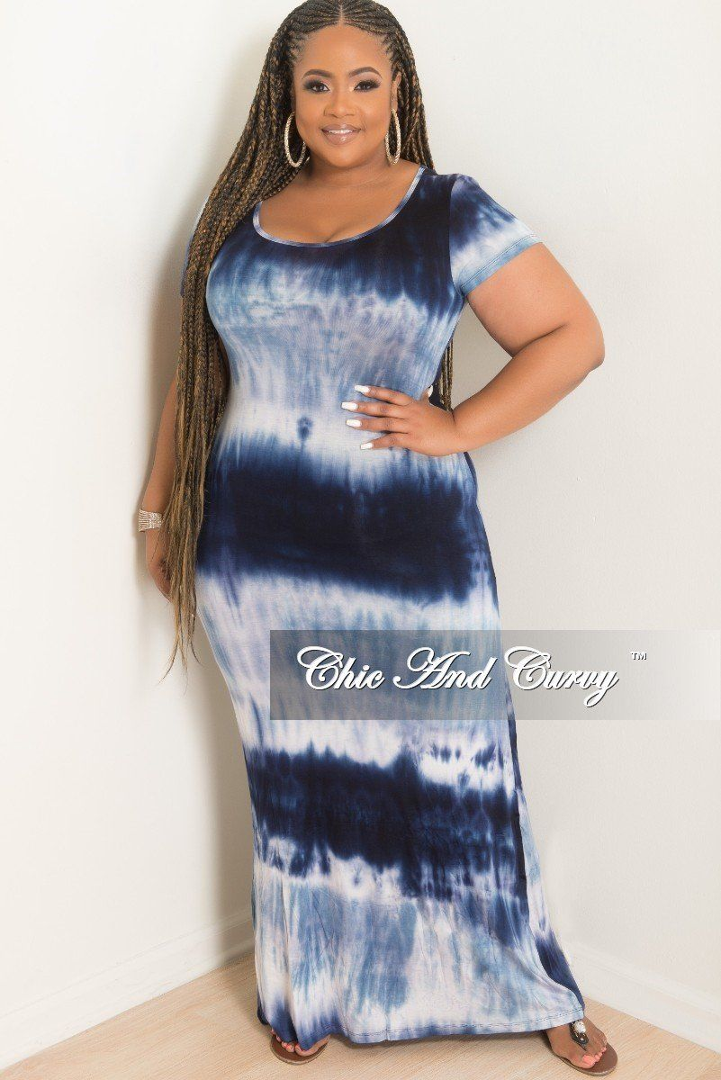 a7daa787d54 Plus Size Short Sleeve Maxi Tie Dye Dress in Light Blue – Chic And Curvy