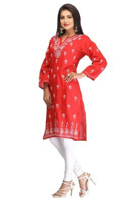 Red embroidered cotton kurtas-and-kurtis    Red Kurtis, Red Colour Kurtis, red designer kurtis, kurtis in red colour