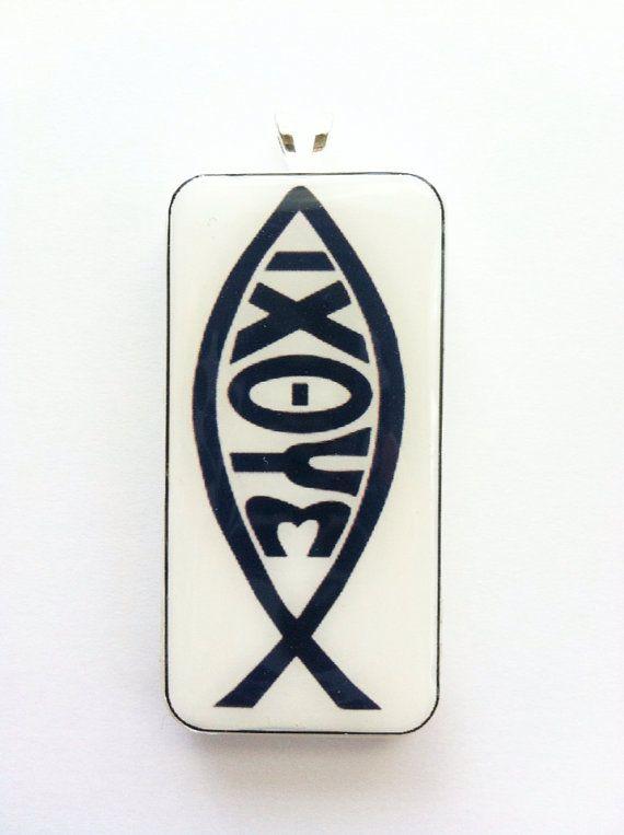 Greek Jesus Fish Symbol Domino Tile Pendant Via Etsy Misc Pinterest
