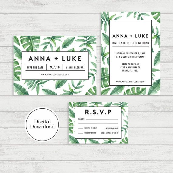 Tropical palm wedding invitation set digital download printable invitation design stopboris Gallery