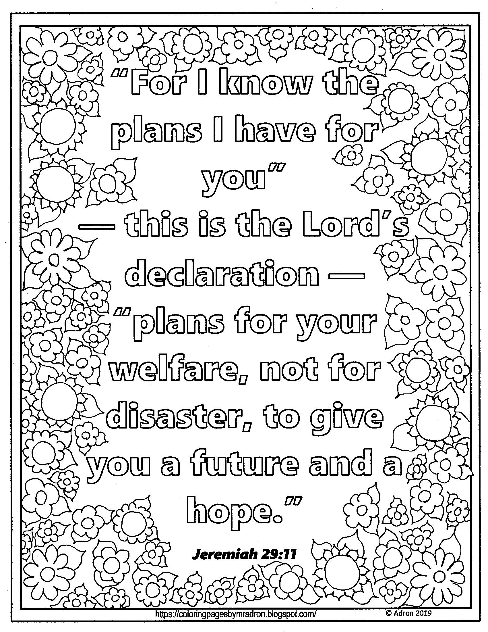 Lent Day 20 Print And Color Page With Jeremiah 29 11 Scripture