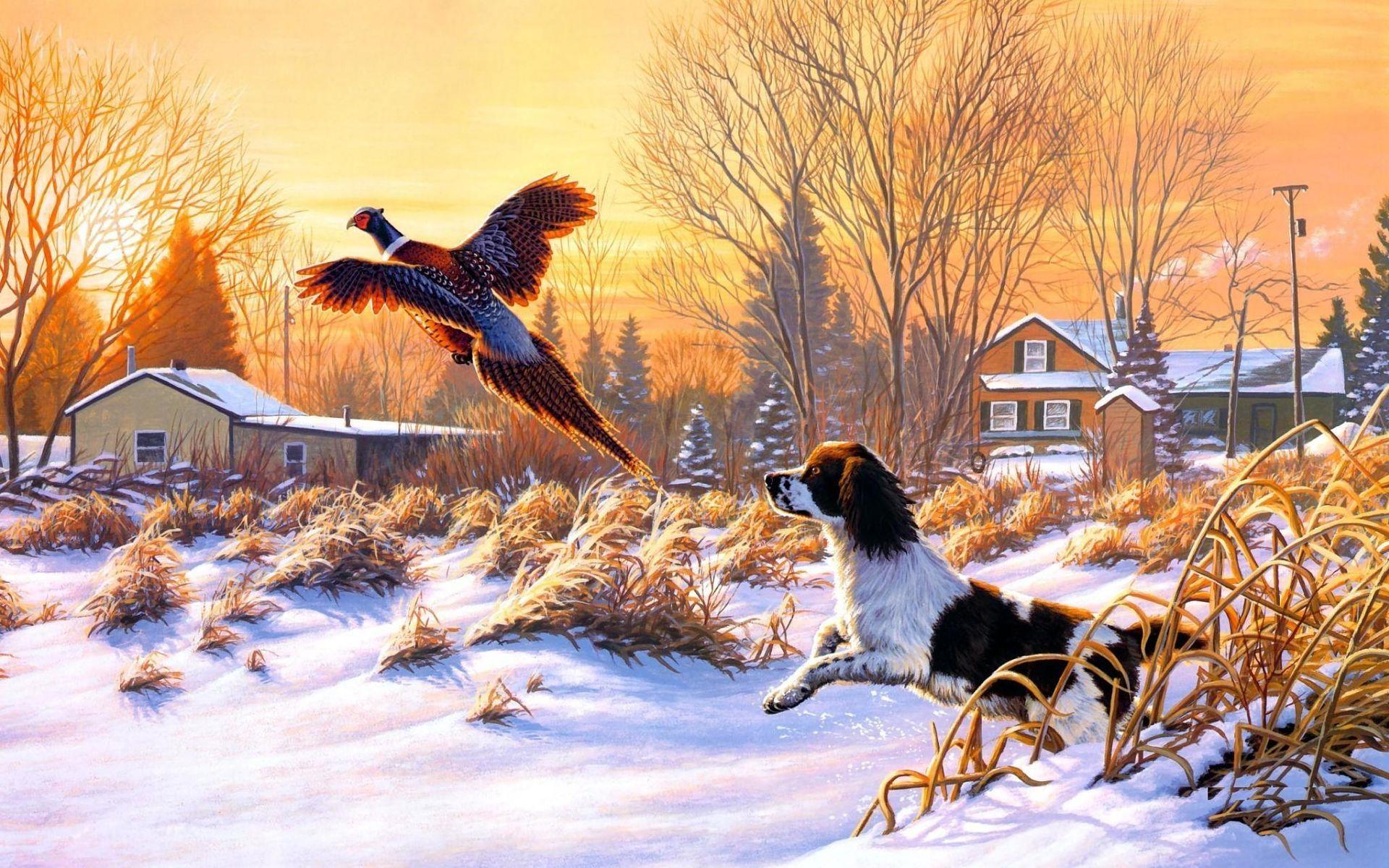 Winter Snow Bird Hunt Art Painting Windows8