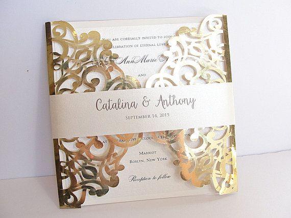 laser cut wedding invitation, gold foil wedding invite, lace, Wedding invitations