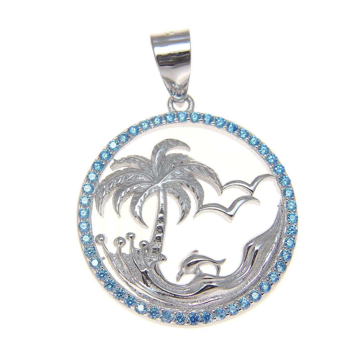 Hawaiian Rhodium STER Silver Genuine Blue Topaz Palm Tree Dolphin Wave Pendant