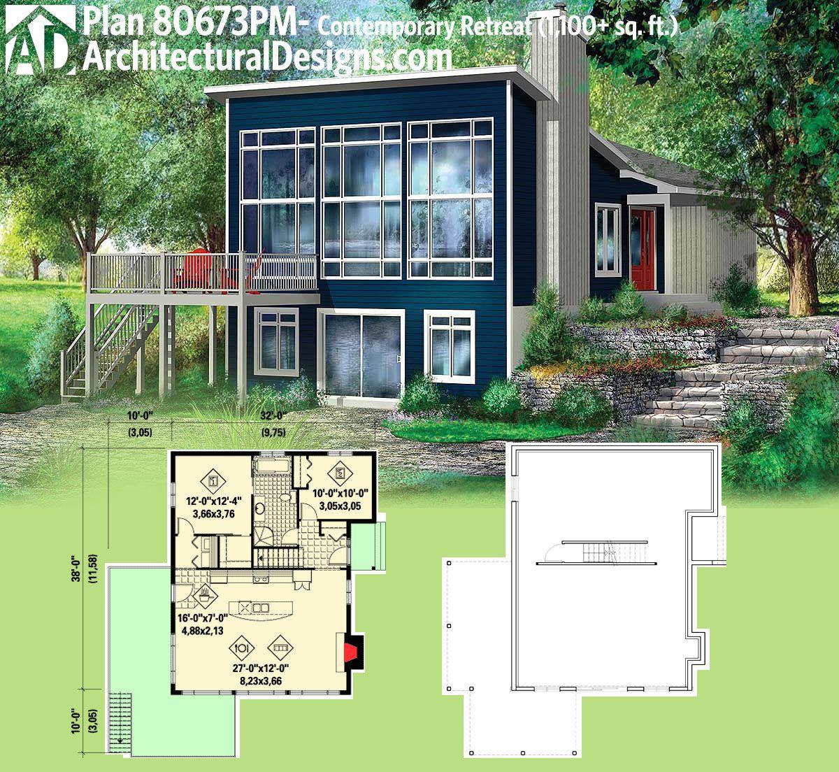 Plan 80673pm Contemporary Retreat Modern House Plans Modern House Plan House Plans