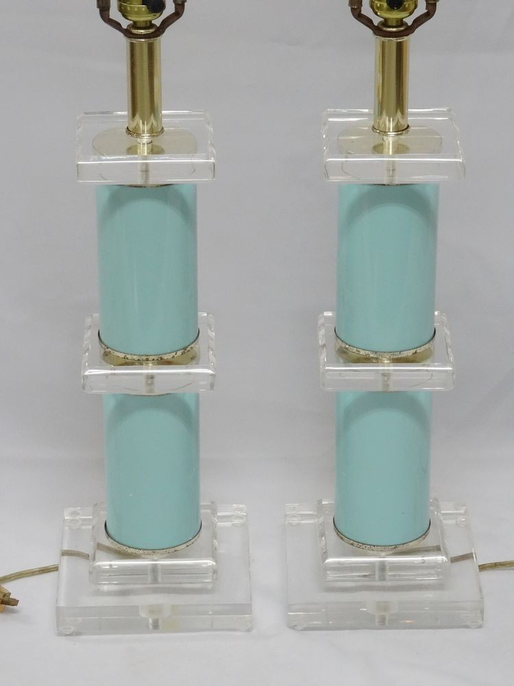 Pair Of Chic Vintage Bauer Aqua Clear Sculpture Lucite Table Lamp 29 Lucite Table Iron Lamp Modern Lamp