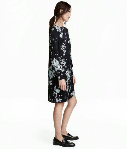 H M Long Sleeved Dress Dark Blue Floral Long Sleeve Dress Floral Dress Black Dresses