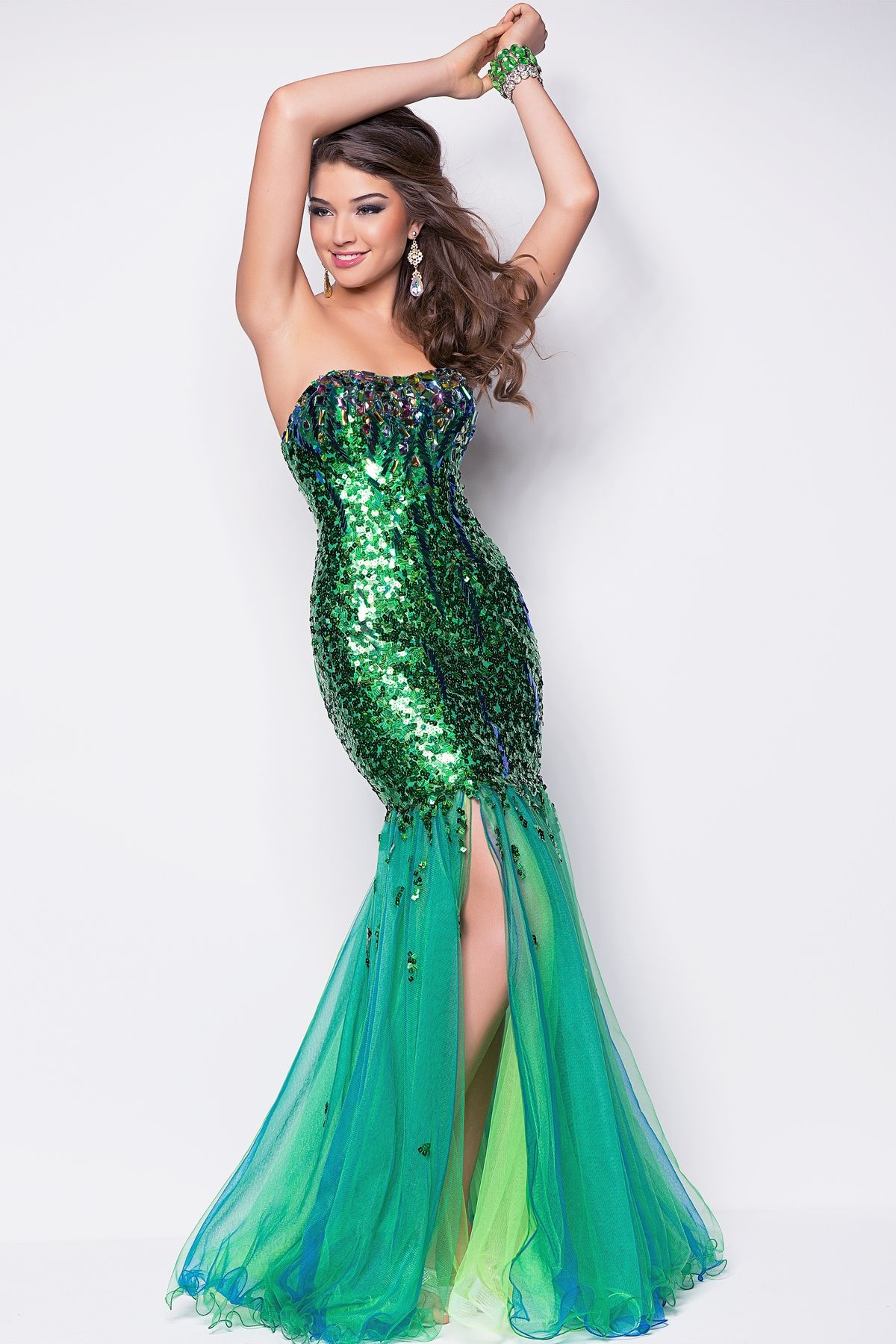 Beads and sheer rock this sexy prom dress this hot dance gown is