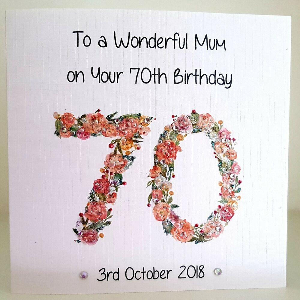 Personalised 70th Birthday Card 60th 80th 90th Mum Aunt Nan Wife Grandma Any Age 70th Birthday Card Diy 40th Birthday Card Birthday Cards For Mum