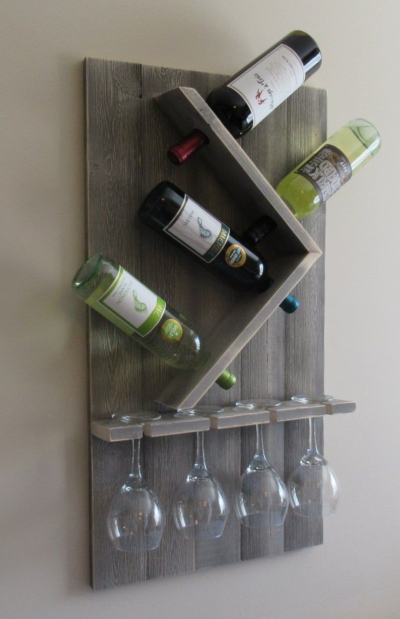 Wine Bottle And Glass Wine Holder Rustic Wall Wine Rack Wine Etsy In 2020 Diy Wine Glass Wine Rack Wall Diy Wine Glass Rack