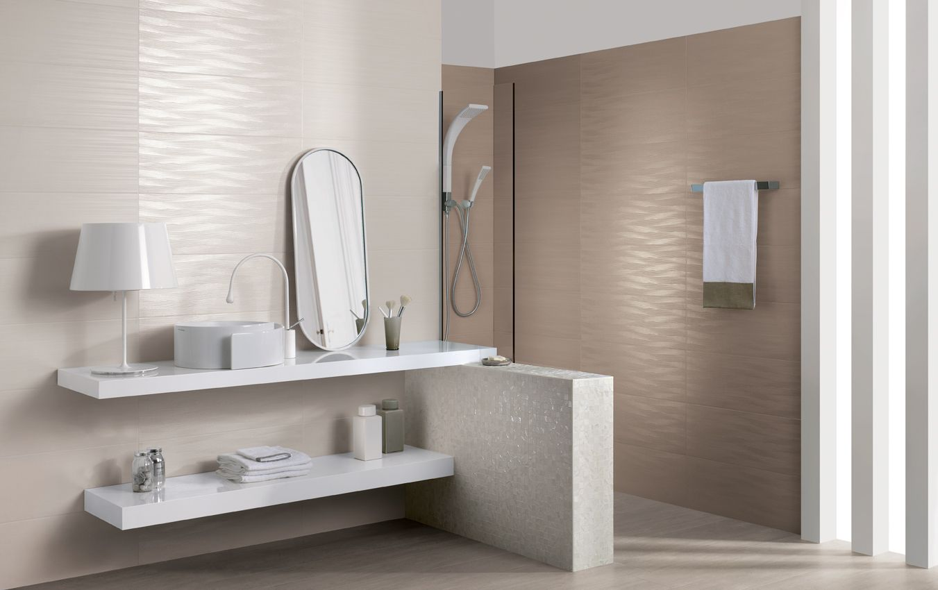 Tile designs for bathroom walls -  Piastrellebagno Dress Up Grescollection Colori White E Tan Formato Unico 25x75 Simple Bathroom Designsdesign