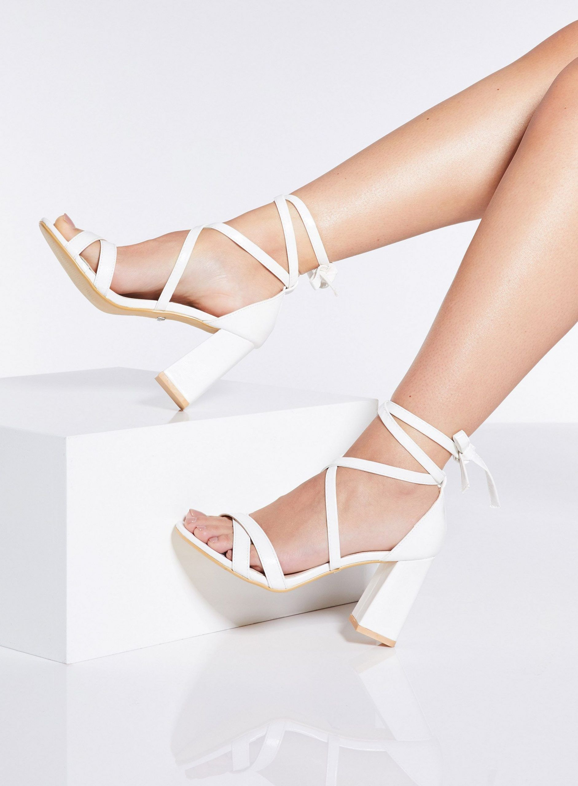 Quiz White Block Heel Sandals#block