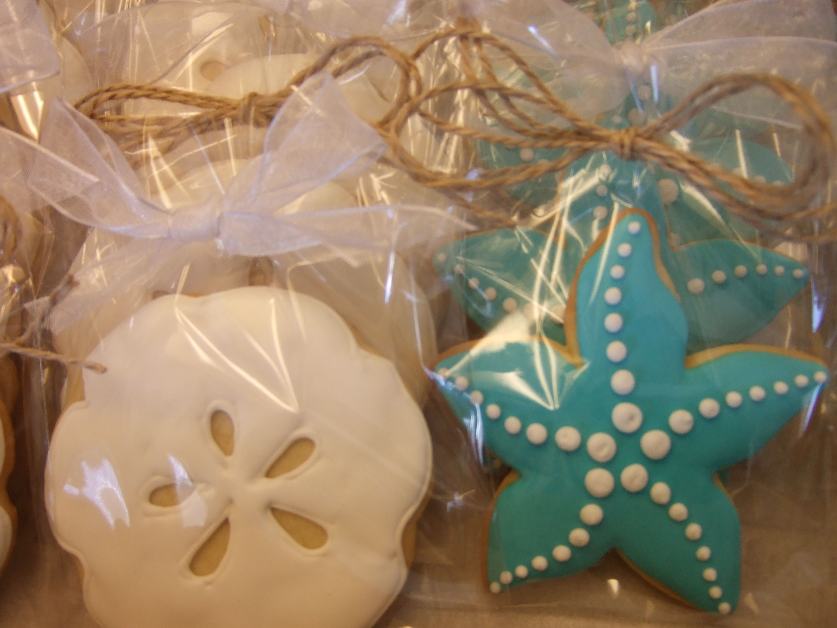 sand dollar starfish sugar cookies for a beach theme party shower