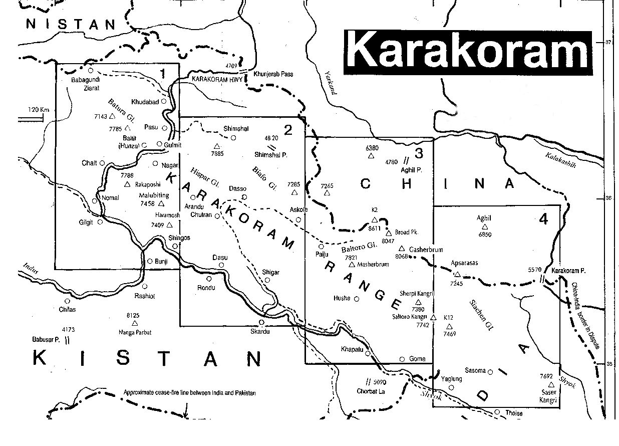 Karakoram Range Peaks Map