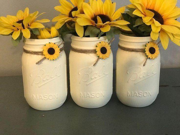 Sunflower Mason Jar Decor, Set of 3, Sunflower Decor, Summer Decor, Spring Wedding Decor, Rustic Wedding Decor, Wedding Centerpieces