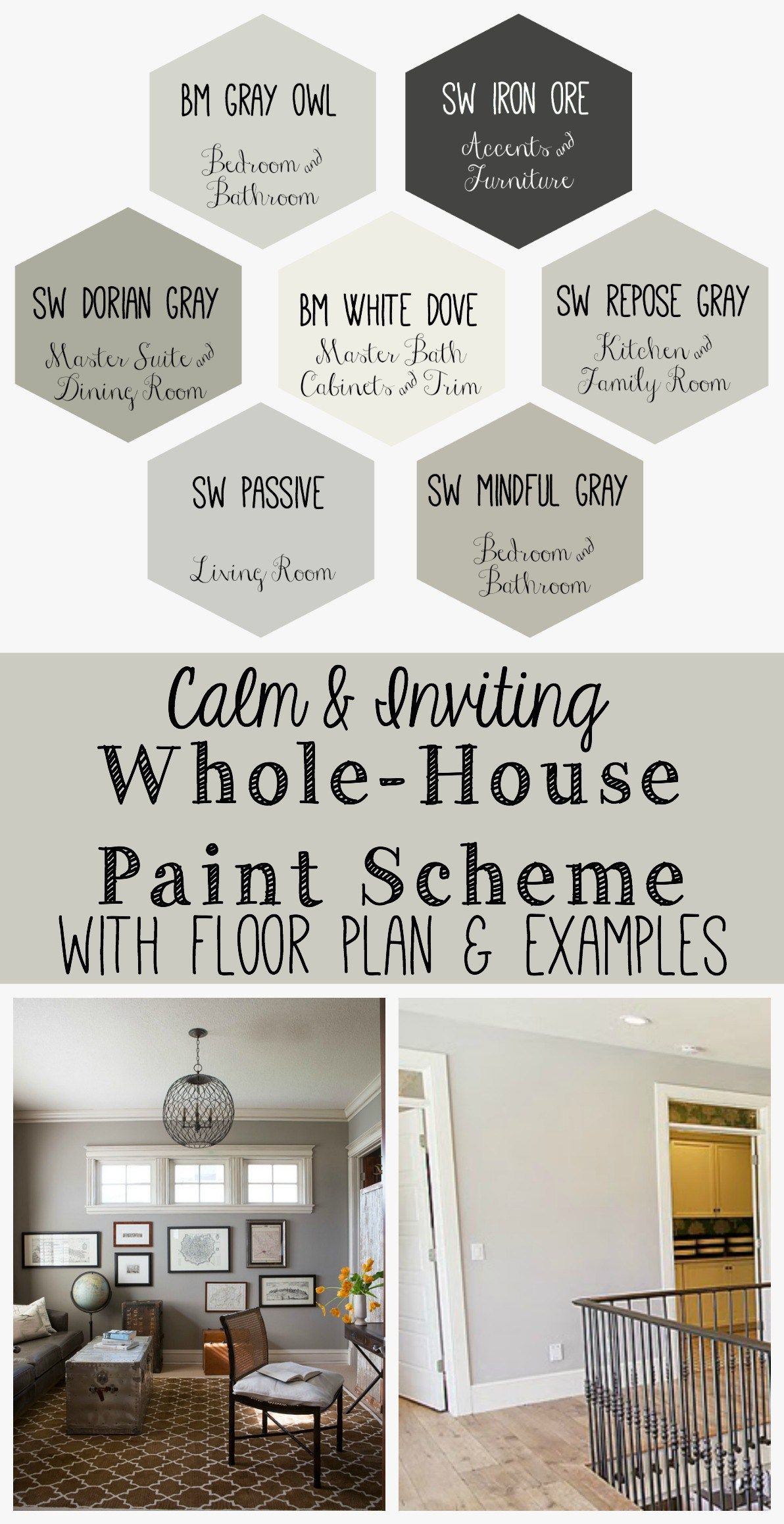 I Put Together A Whole House Paint Scheme Using Some Neutral Grays I Love To See How All The Colors W Paint Colors For Home House Color Schemes Home Remodeling