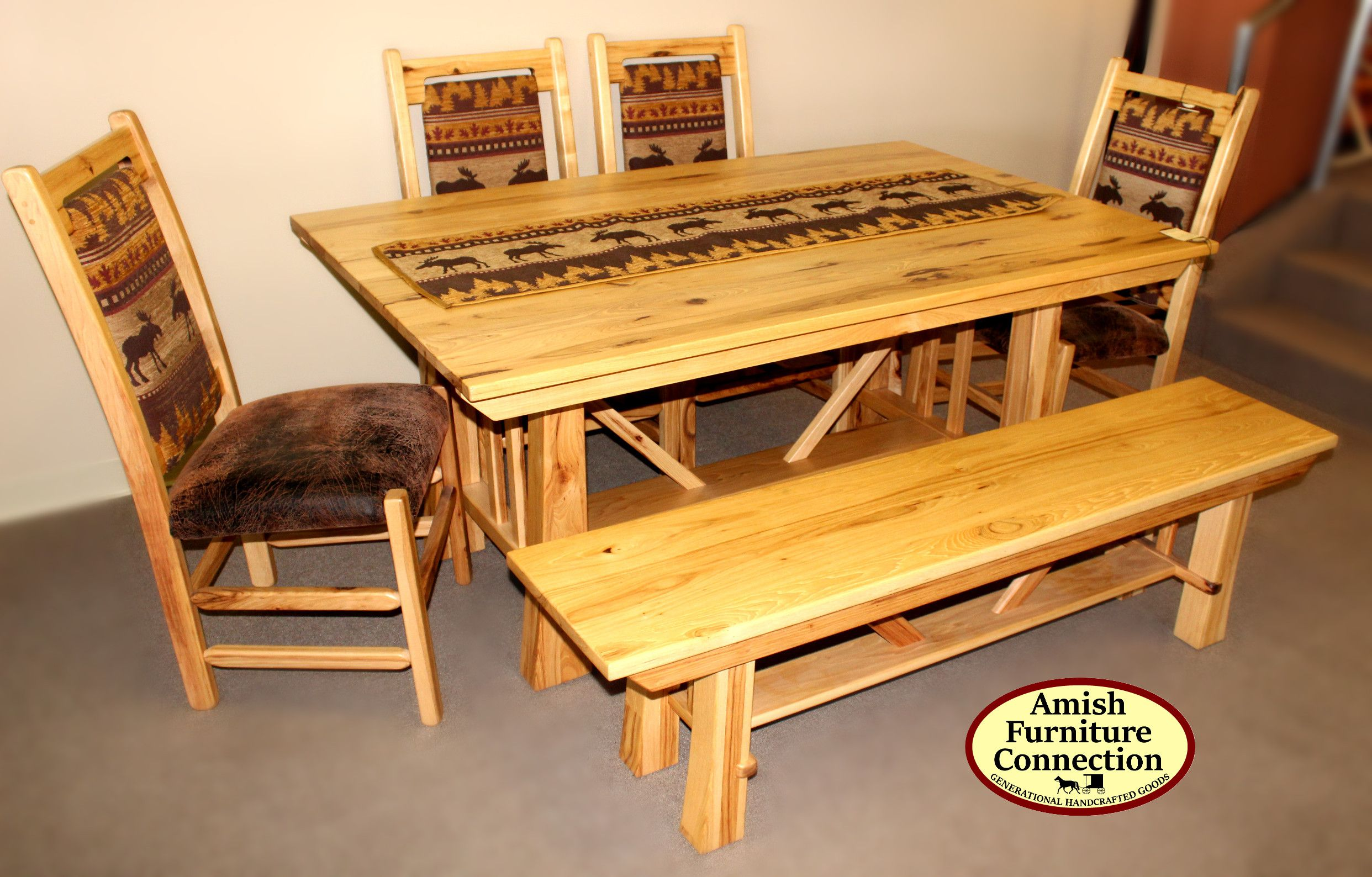 Hickory Dining Set With 4 Upholstered Chairs And Bench; Bellefonte, PA