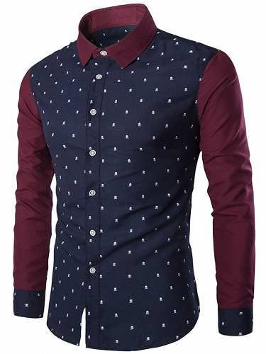Prezzi e Sconti: #Skull print turndown collar color block  ad Euro 11.79 in #Men #Moda