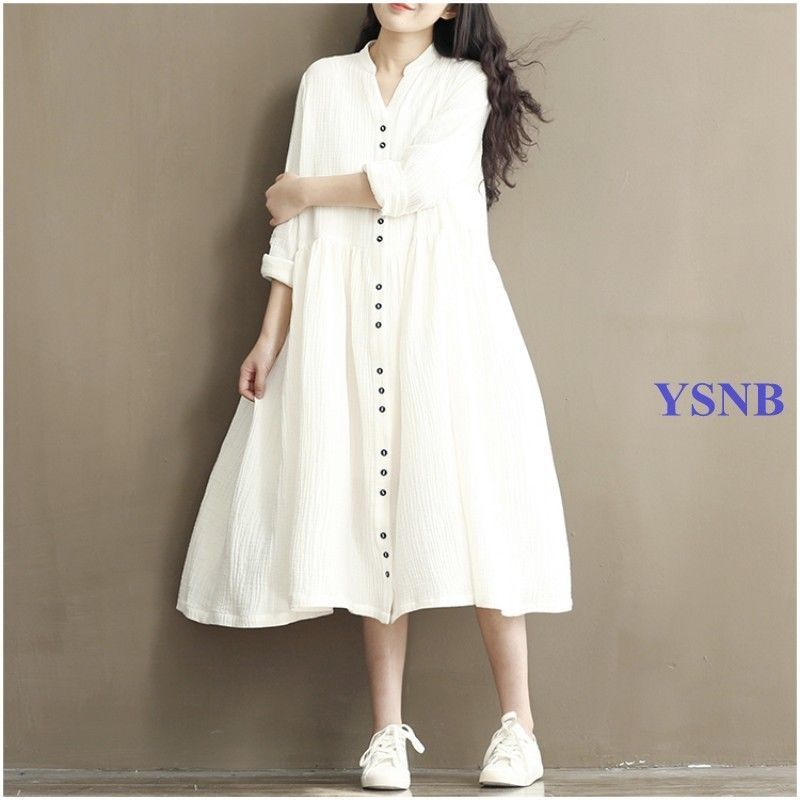 Batwing Sleeve Loose Gown Lady Cotton&Linen Long Dress Pregnant Dresses  Casual