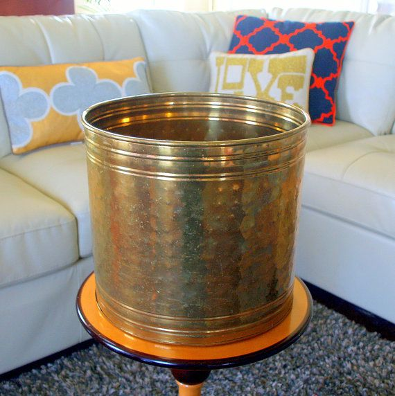 VINTAGE LARGE PLANTER >>> Super Cool  > Gold > Brass > Round > Tall > Indoor > Outdoor > Hollywood Regency > Glam > India > Metallic > Pot