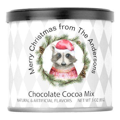 Christmas Woodland Raccoon in Santa Hat Hot Chocolate Drink Mix    Christmas Woodland Raccoon in Santa Hat Hot Chocolate Drink Mix - merry christmas diy xmas present gift idea family holidays