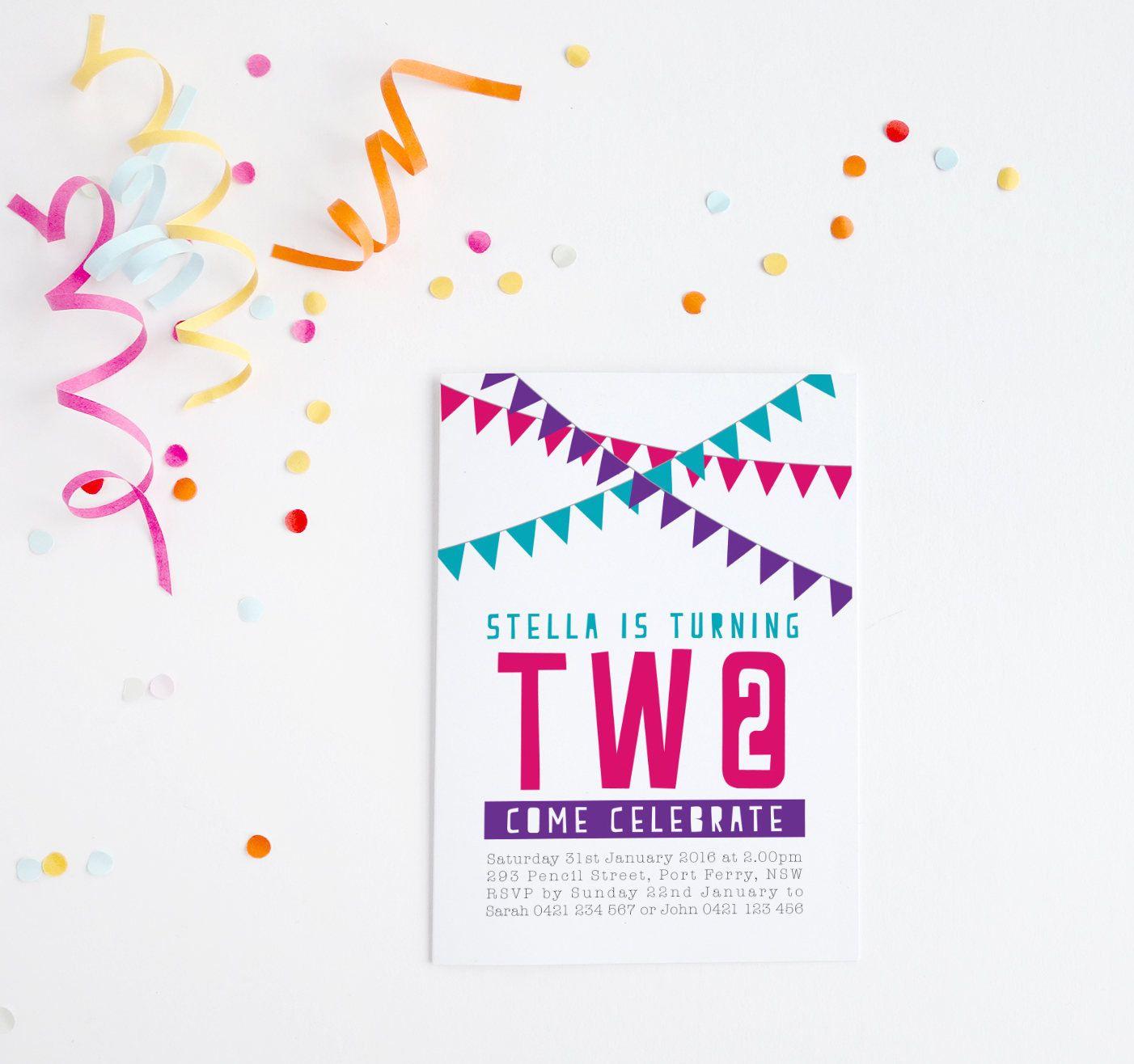 summary birthday bunting little dance invitations