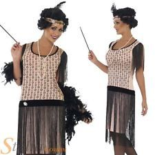 Ladies 1920s Coco Flapper Charleston Gatsby Fancy Dress Costume Adult Size 8-18