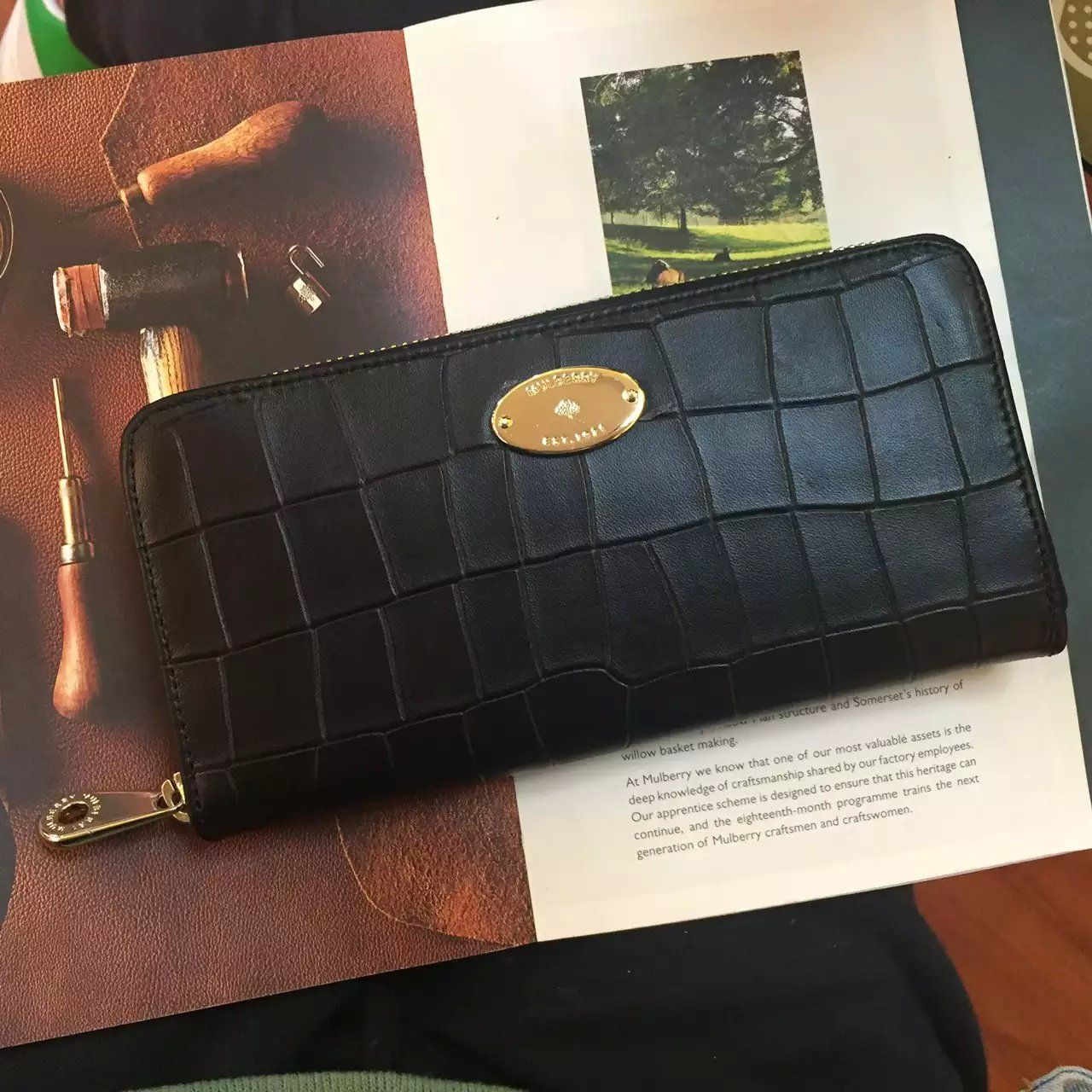 New Edition!2016 Mulberry Handbags Collection Outlet UK-Mulberry Zip Around Wallet Black Deep Embossed Croc Print