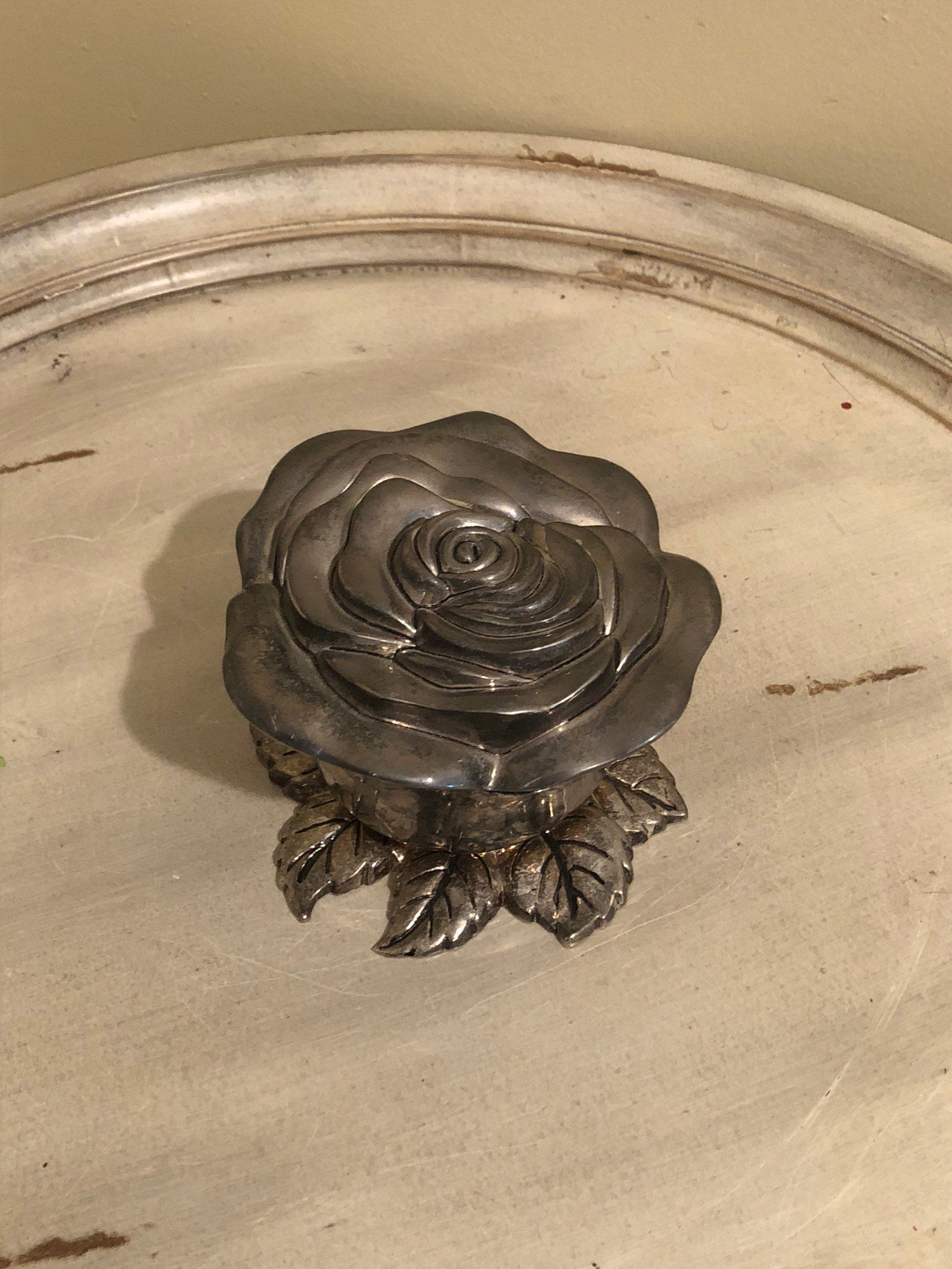 Gift Under 50 Godinger Ring Box Vintage Jewelry Box Silver Plated Rose Detail Trinket Box