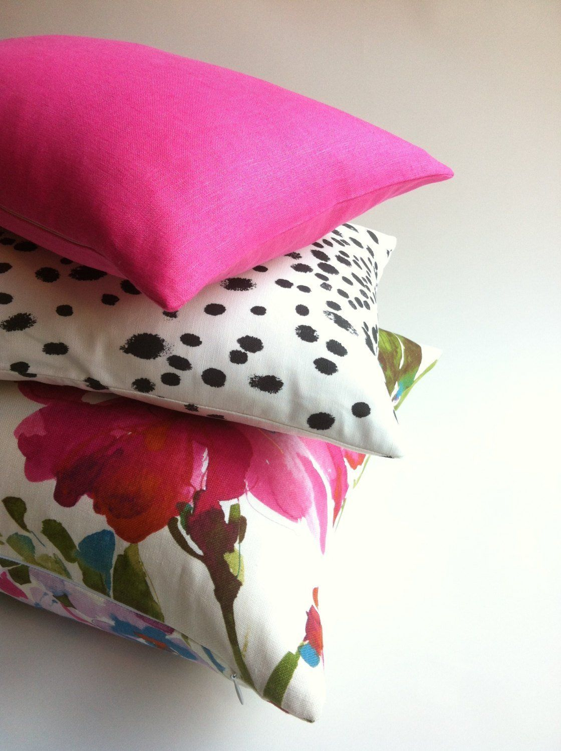 One Solid Fuchsia European Linen Decorative Zipper Pillow Cover Pink Linen Cushion Cover: 10 Sizes Available - 16x24