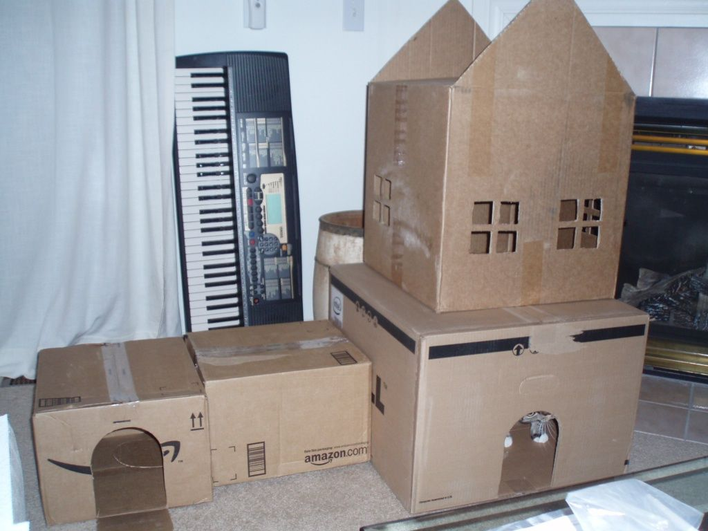 Cardboard House For Cats Cardboard Box House For Cats Google Search Cats Pinterest