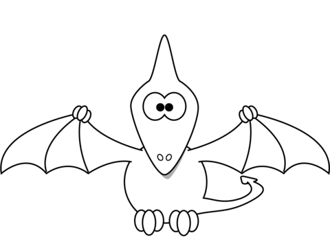 cartoon pterodactyl coloring page from