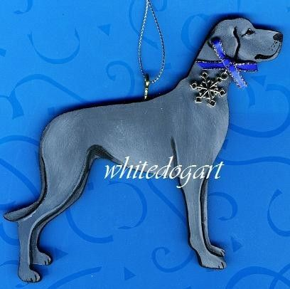 Uncropped Blue Great Dane Christmas Ornament Blue Great Danes