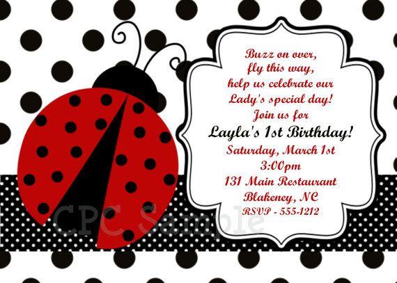 Ladybug Birthday Invitations Ladybug Birthday Party Invitation
