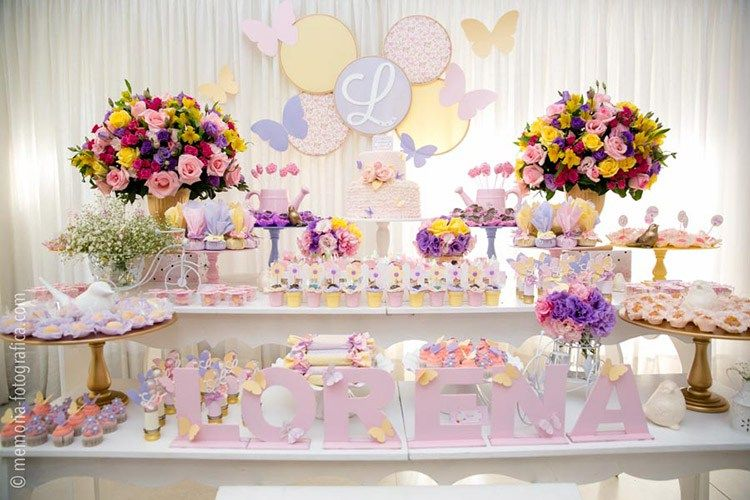 Take A Look At The Candy Buffets That Were Designed To Drop Jaws With Their Extravagant Garden Party Birthday Butterfly Birthday Party Birthday Party Desserts